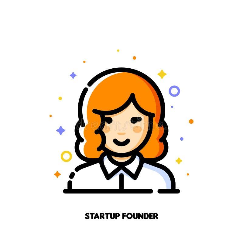 Avatar femenino del usuario del fundador de lanzamiento Icono de la cara linda de la muchacha stock de ilustración