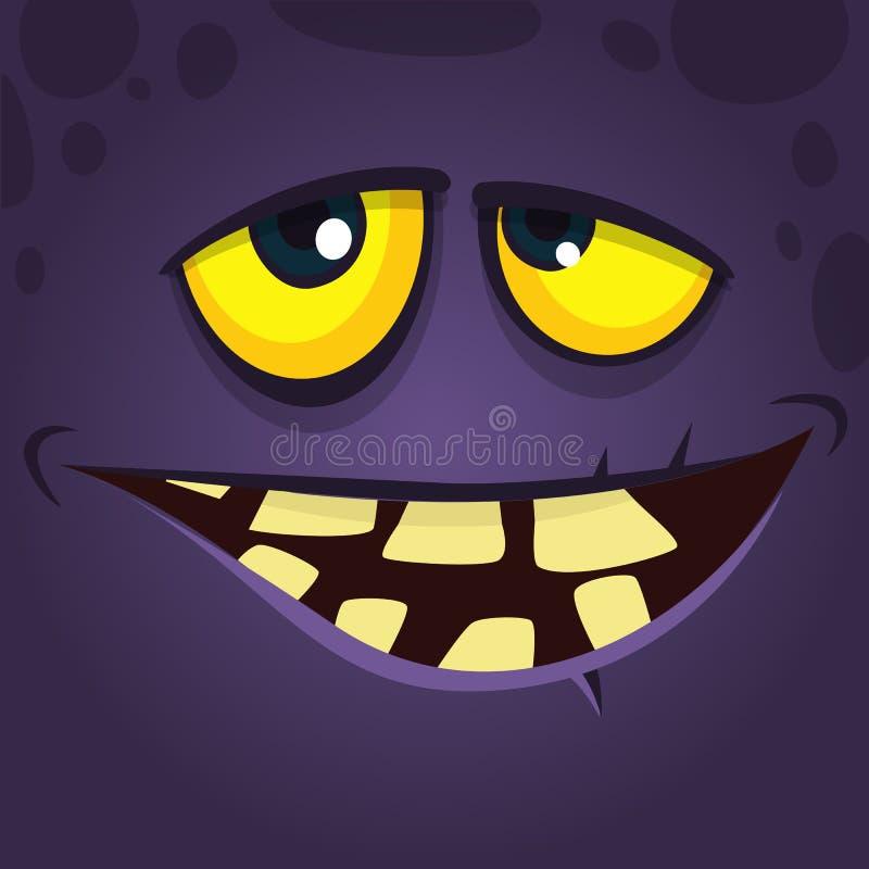 Avatar fresco felice del fronte del mostro del fumetto con il sorriso curvato Carattere del mostro del nero di Halloween di vetto illustrazione di stock