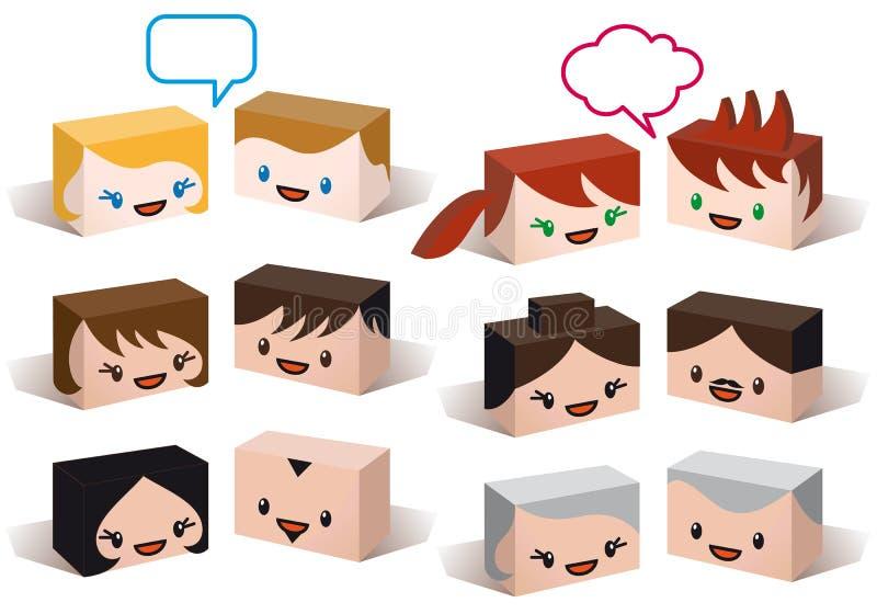 avatar głów ikony ludzie ustawiają wektor ilustracji