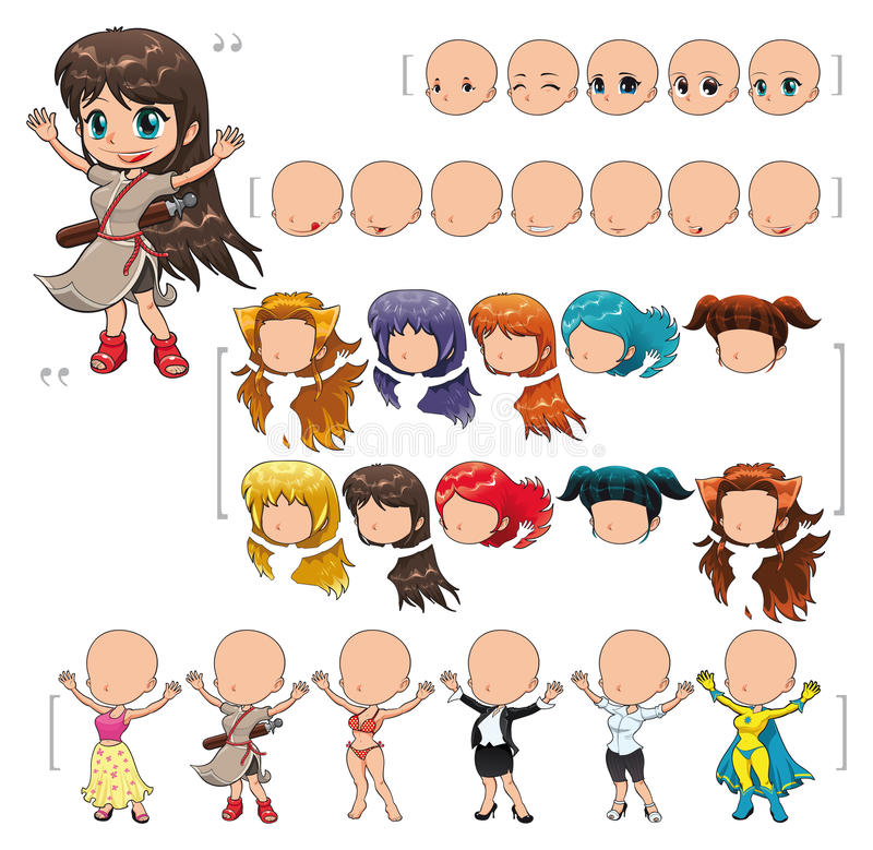 Avatar girl. Illustration, isolated objects. All the elements adapt perfectly each others. Larger character on the right is just an example. 5 eyes, 7 mouths
