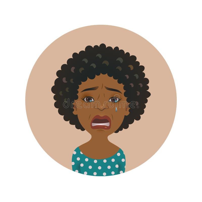 Avatar gritador afroamericano lindo de la mujer Muchacha africana llorosa Modelo de piel morena de la historieta que llora Expres stock de ilustración