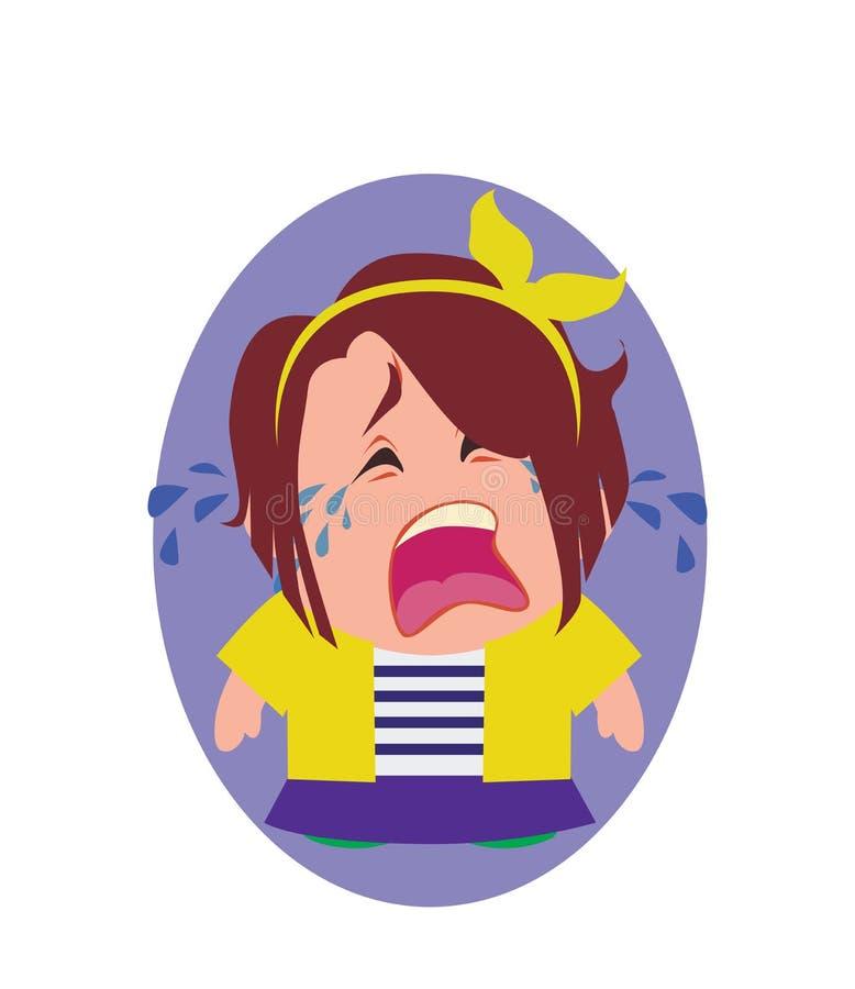 Avatar gritando, infeliz e devastado de Person Cartoon Character pequeno no vetor liso ilustração do vetor