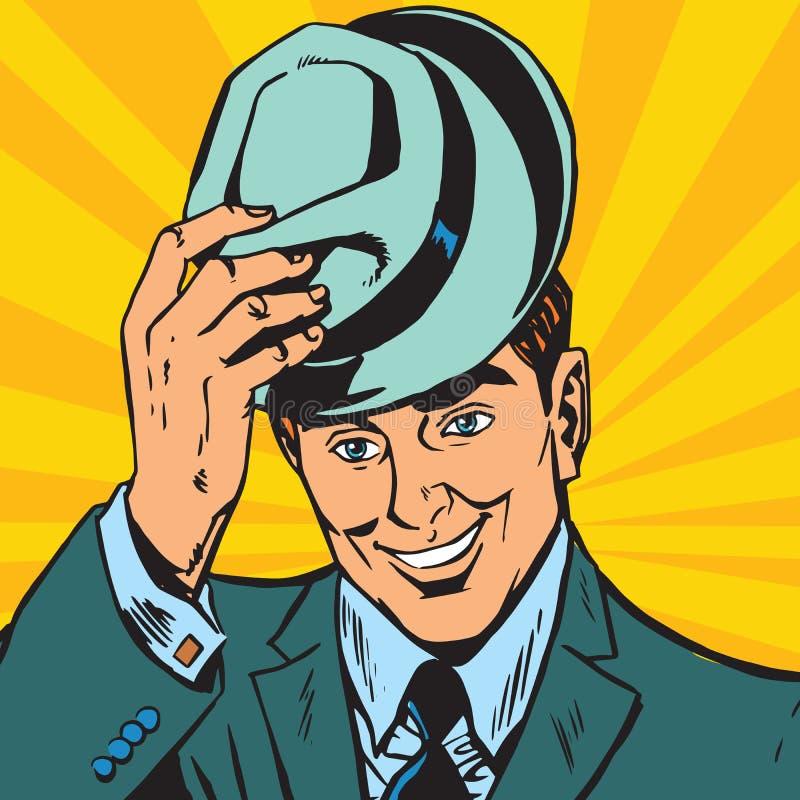 Avatar heft de portret zachte mens zijn hoed op vector illustratie