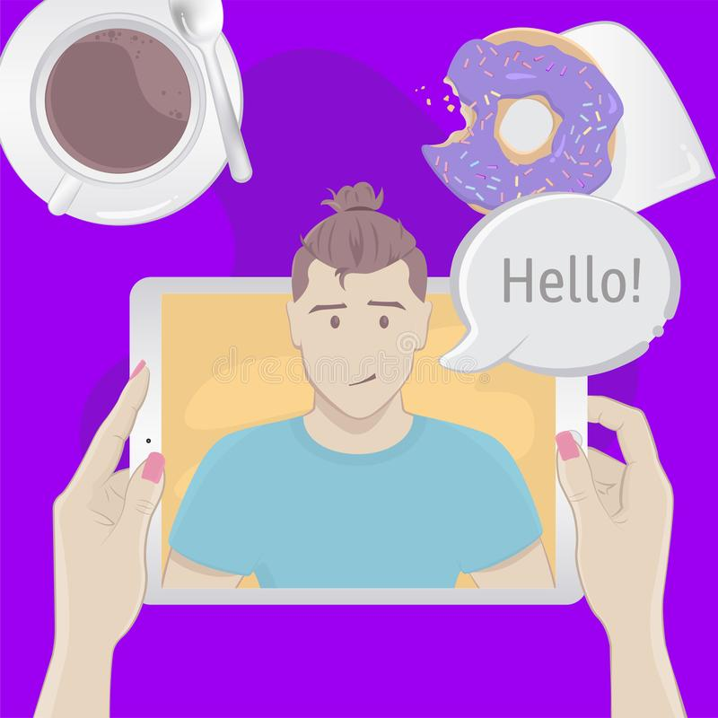 Video chat with a man. Breakfast top view concept royalty free illustration
