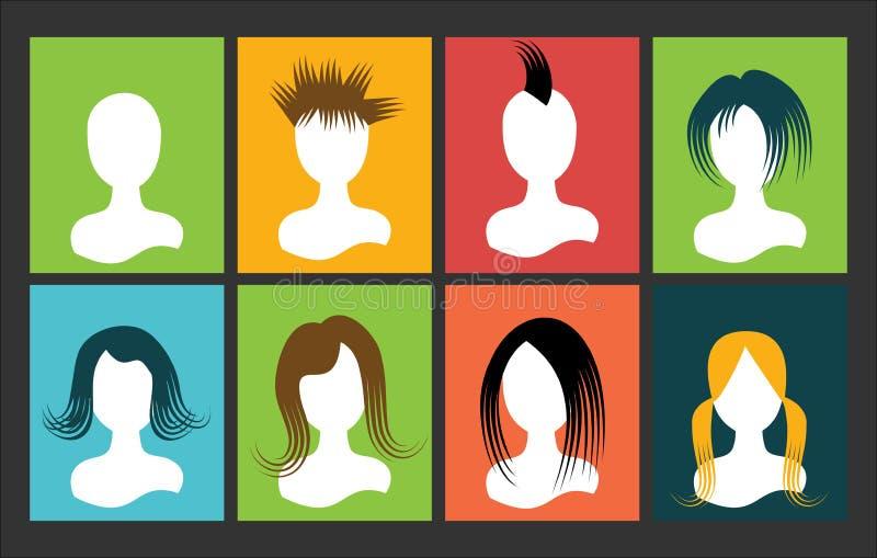 Avatar het haar van mislukkingsmensen op het multicolored vierkant vector illustratie