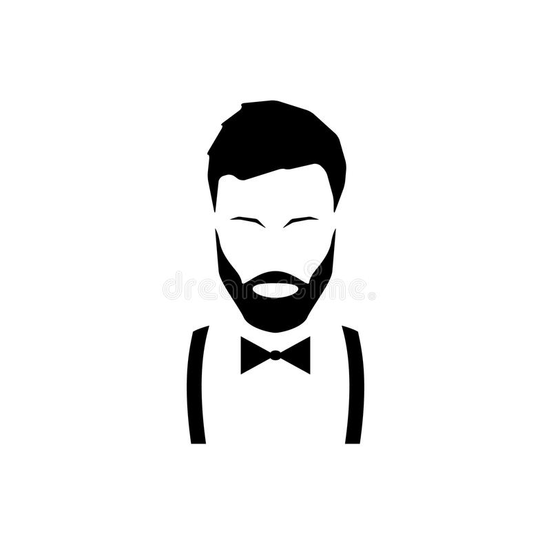 Free Avatar Hipster With A Beard In Suspenders And A Bow Tie. Stock Images - 102292784