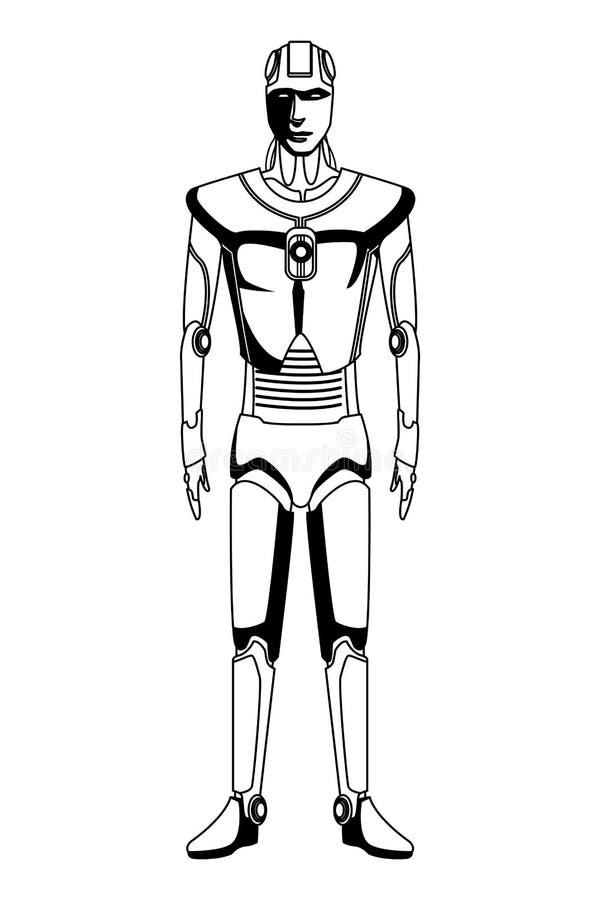 Avatar Humanoid del robot blanco y negro ilustración del vector