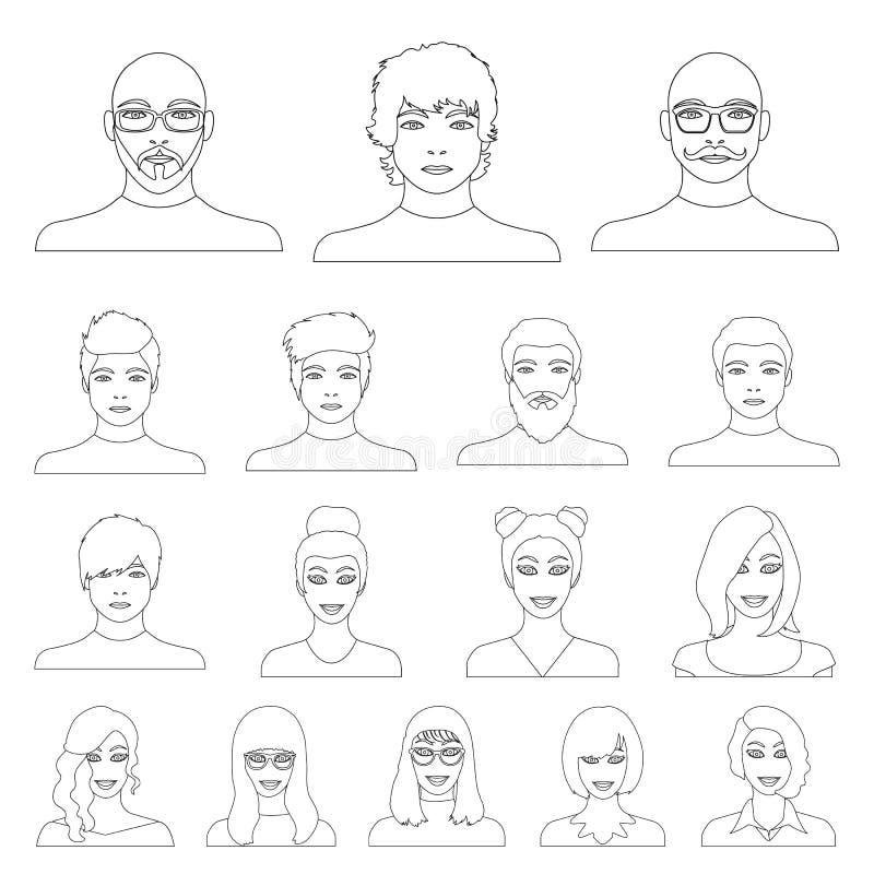 Avatar i twarz zarysowywamy ikony w ustalonej kolekci dla projekta Osoby ` s pojawienia symbolu zapasu sieci wektorowa ilustracja ilustracja wektor
