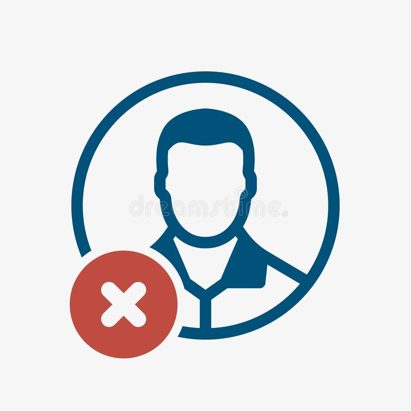 Avatar icon, social icon with cancel sign. Avatar icon and close, delete, remove symbol. Vector illustration royalty free illustration