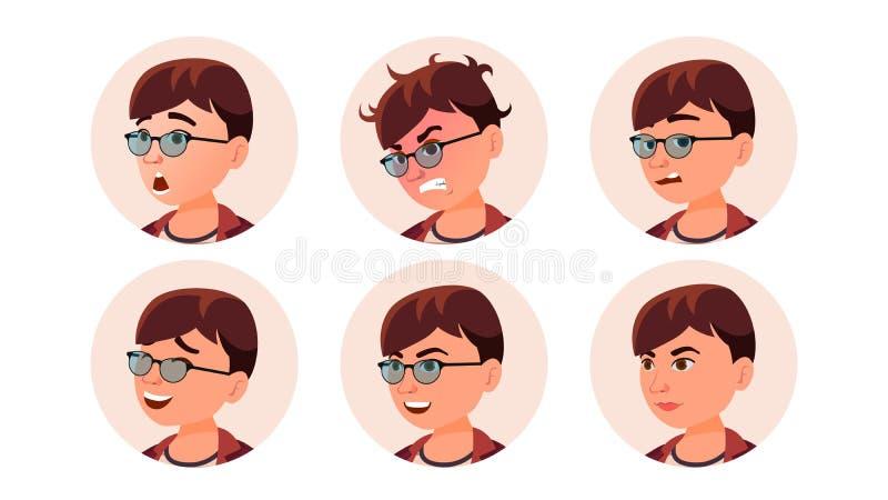 Avatar Icon Woman Vector. Round Portrait. Cute Employer. Isolated Flat Cartoon Illustration stock illustration