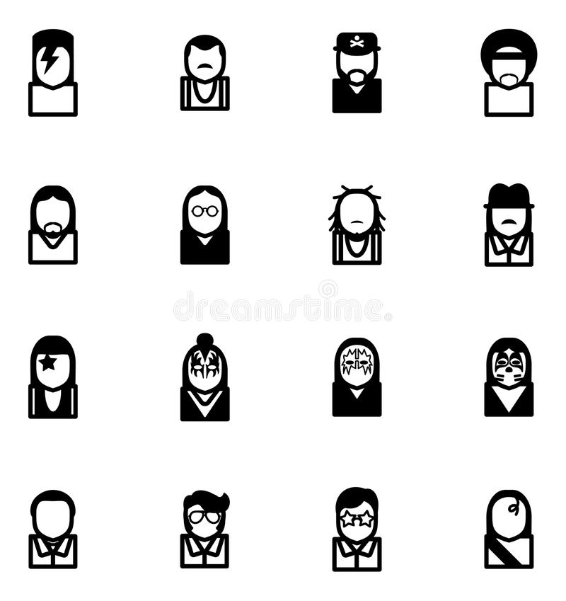 Avatar Icons Famous Musicians Set 1 royalty free illustration