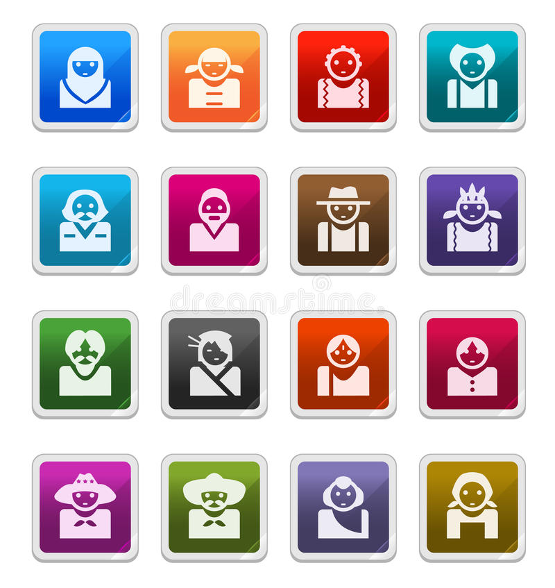 Avatar  Icons (multicultures) - Sticker Series Royalty Free Stock Images