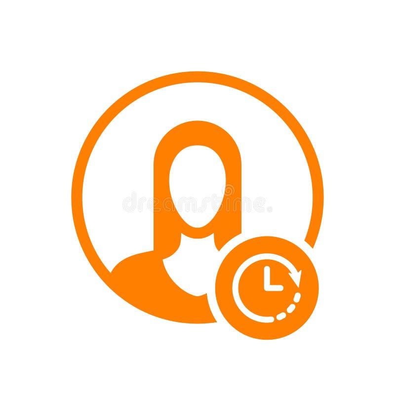 Avatar ikona, ludzie ikony z zegaru znakiem Avatar ikona i odliczanie, ostateczny termin, rozkład, planistyczny symbol ilustracja wektor