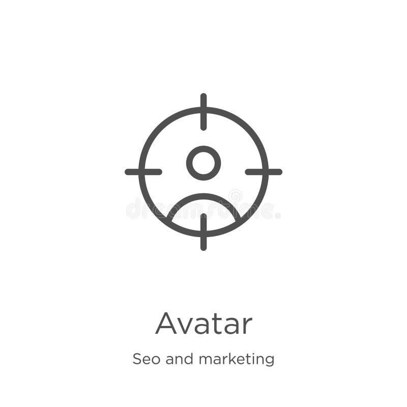 avatar ikony wektor od seo i marketingowej kolekcji Cienka kreskowa avatar konturu ikony wektoru ilustracja Kontur, cienieje kres ilustracja wektor