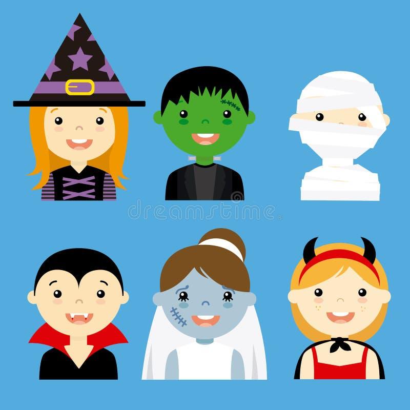 Avatar inkasowi dzieci ubierający jako Halloween ilustracja wektor