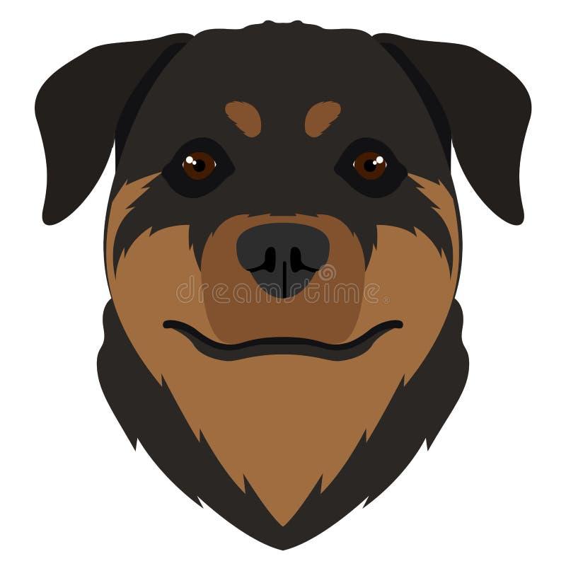 Avatar isolato del rottweiler illustrazione di stock