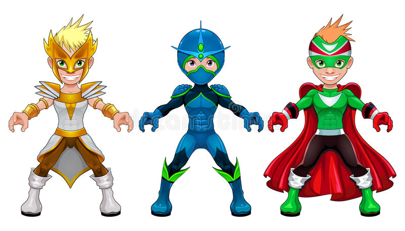 Avatar jonge superheroes en strijders royalty-vrije illustratie