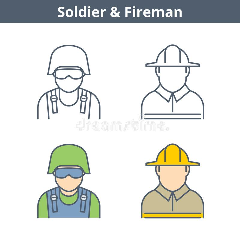 Avatar linéaire de professions réglé : pompier, soldat Icônes d'ensemble illustration de vecteur