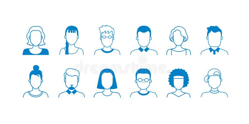 Avatar line icons. Hand drawn interface user symbols, doodle people of different ages, teens adult and old. Vector vector illustration