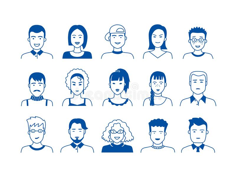 Avatar line icons. Hand drawn people cartoon faces, cute boys and girls teen persons, modern vector male and female stock illustration