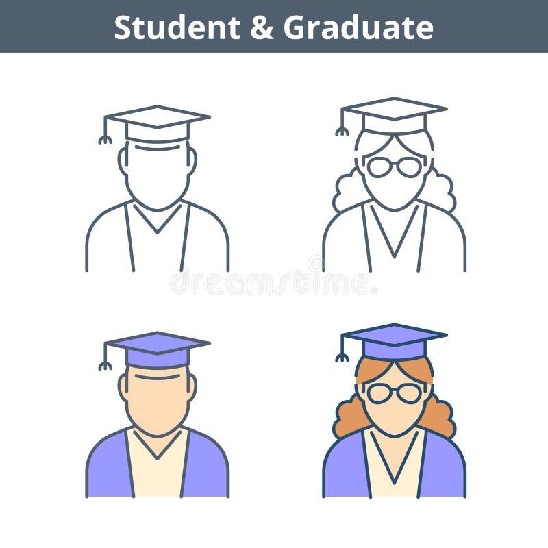 Avatar linear das ocupações ajustado: estudante, graduado Esboço fino mim ilustração royalty free