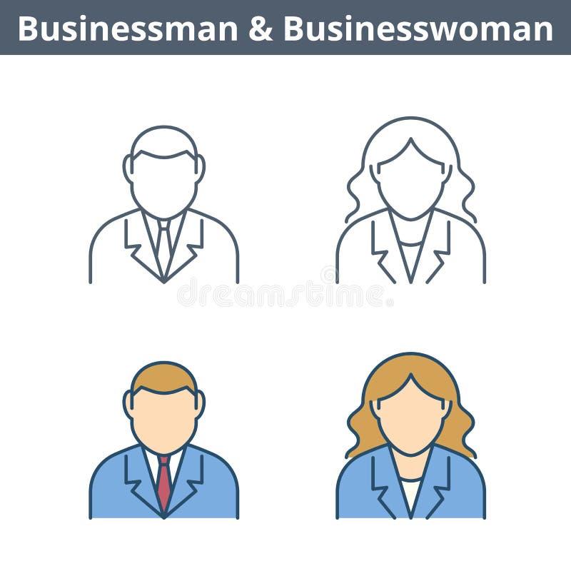 Avatar linear das ocupações ajustado: homem de negócios, mulher de negócios fino ilustração do vetor