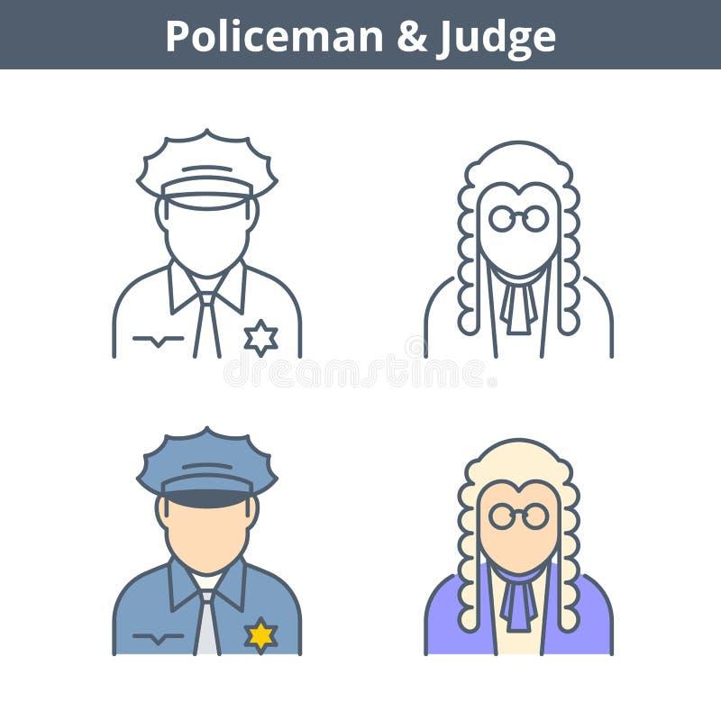 Avatar linear das ocupações ajustado: juiz, polícia Ícones do esboço ilustração stock