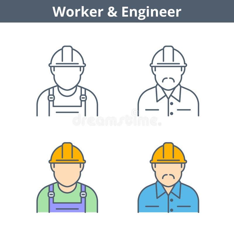Avatar linear de los empleos fijado: ingeniero, trabajador Esquema fino ic libre illustration