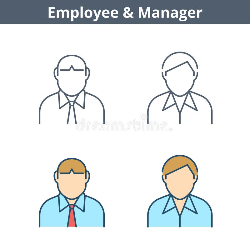 Avatar lineare di occupazioni messo: impiegato, impiegato, responsabile Ou sottile illustrazione di stock