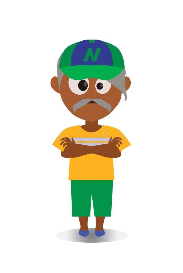 Avatar mal-humorado e infeliz, surpreendido do personagem de banda desenhada no vetor liso ilustração royalty free