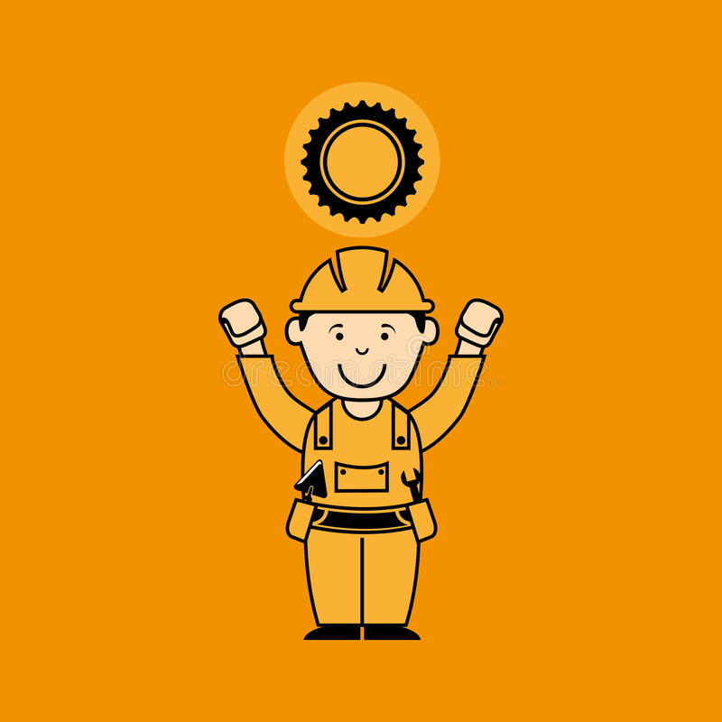 avatar man construction worker with gear engine icon stock illustration