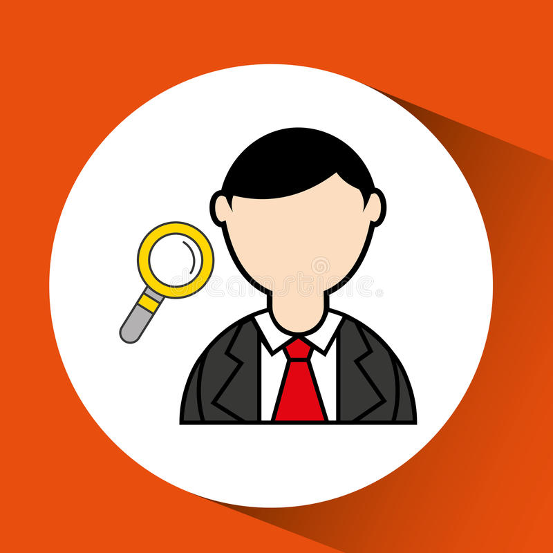 Avatar man with suit and searching graphic. Illustration eps 10 vector illustration