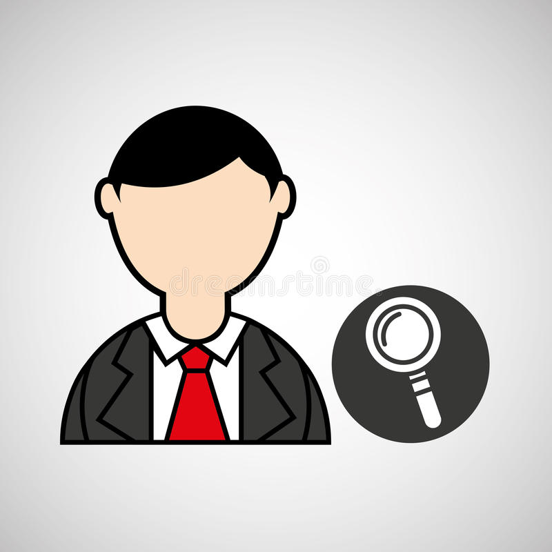 Avatar man with suit and searching graphic. Illustration eps 10 stock illustration