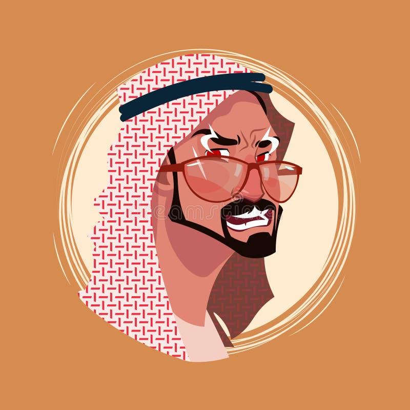 Avatar maschio indiano di emozione dell'icona di profilo, fronte arrabbiato del ritratto del fumetto dell'uomo illustrazione vettoriale