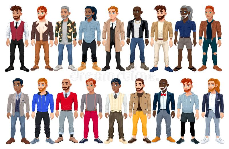 Avatar maschio vario di modo illustrazione di stock