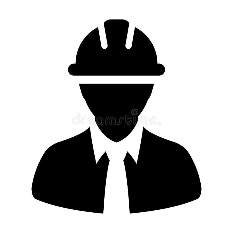 Avatar masculin de profil de personne de service de construction de vecteur d'icône de travailleur d'enquête avec le casque de ma illustration de vecteur