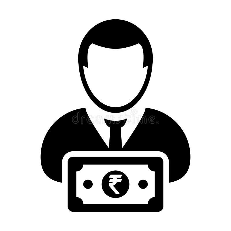 Avatar masculino del perfil de la persona del usuario del vector del icono de la muestra de la rupia india con el símbolo del din libre illustration
