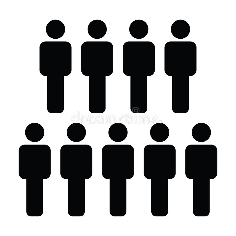 Avatar masculino del símbolo del grupo de personas del vector del icono para el equipo directivo del negocio en pictograma plano  stock de ilustración