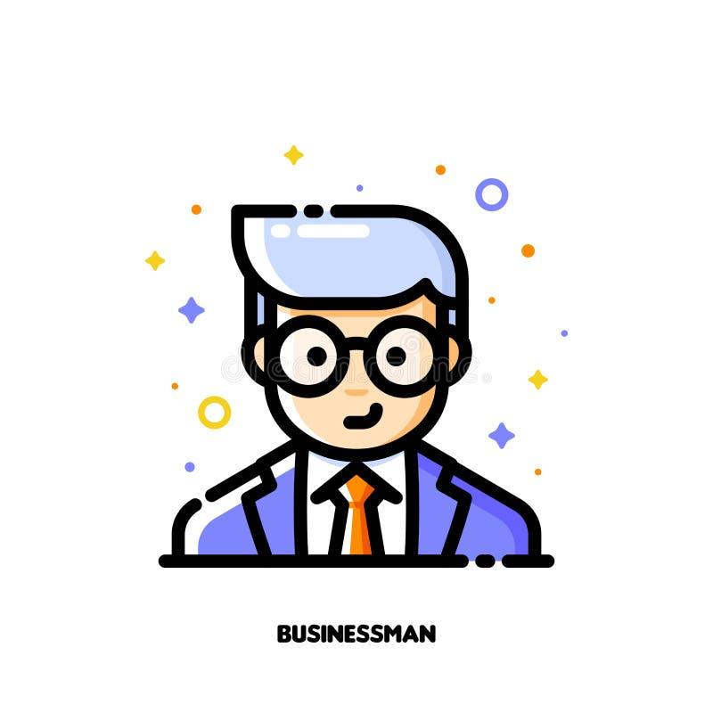 Avatar masculino del usuario del hombre de negocios Icono de la cara linda del muchacho stock de ilustración