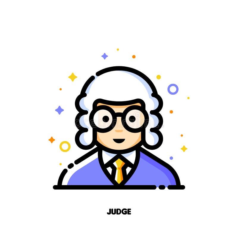 Avatar masculino del usuario del juez Icono de la cara linda del muchacho stock de ilustración