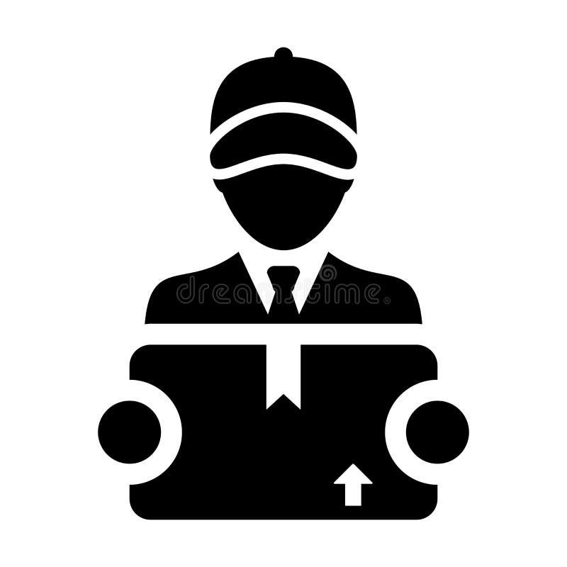 Avatar masculino do perfil da pessoa do serviço do trabalhador da logística do vetor do ícone da exportação com a caixa do pacote ilustração royalty free