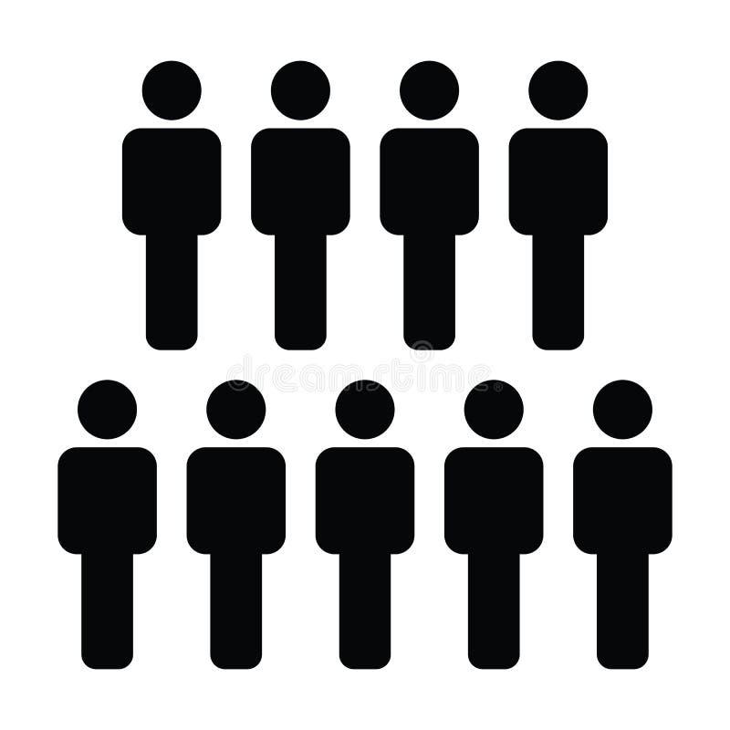 Avatar masculino do símbolo do grupo de pessoas do vetor do ícone para a equipe de gestão empresarial no pictograma liso do glyph ilustração stock