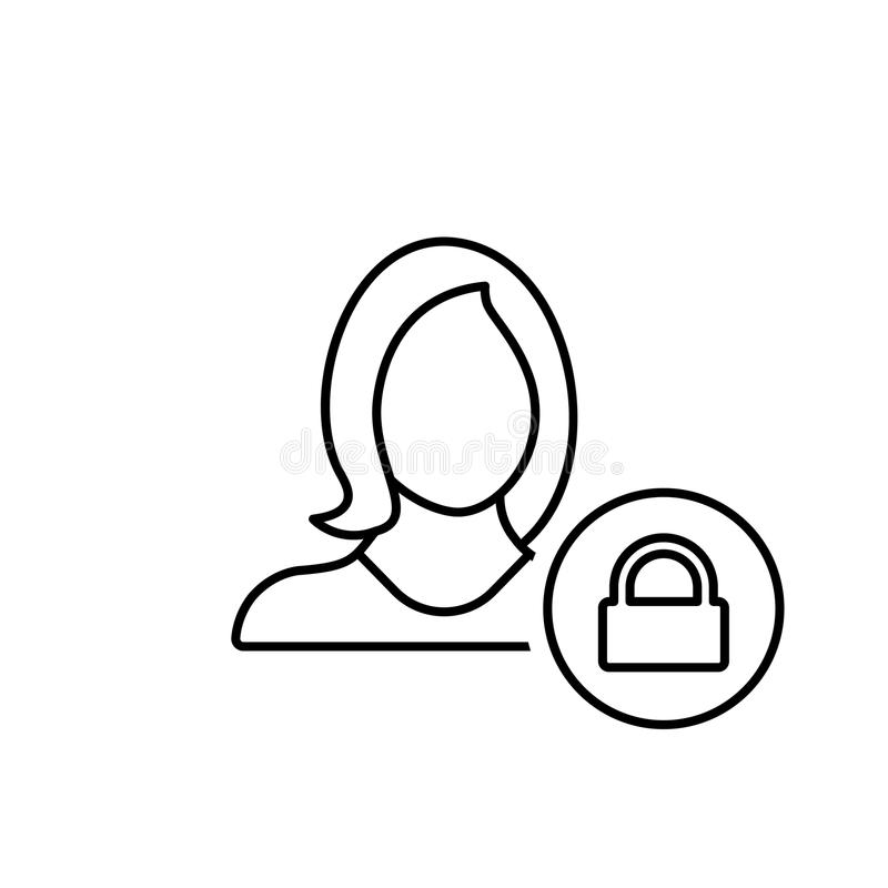 Avatar, menina, fechamento, senha, segurança, usuário, ícone da mulher ilustração do vetor