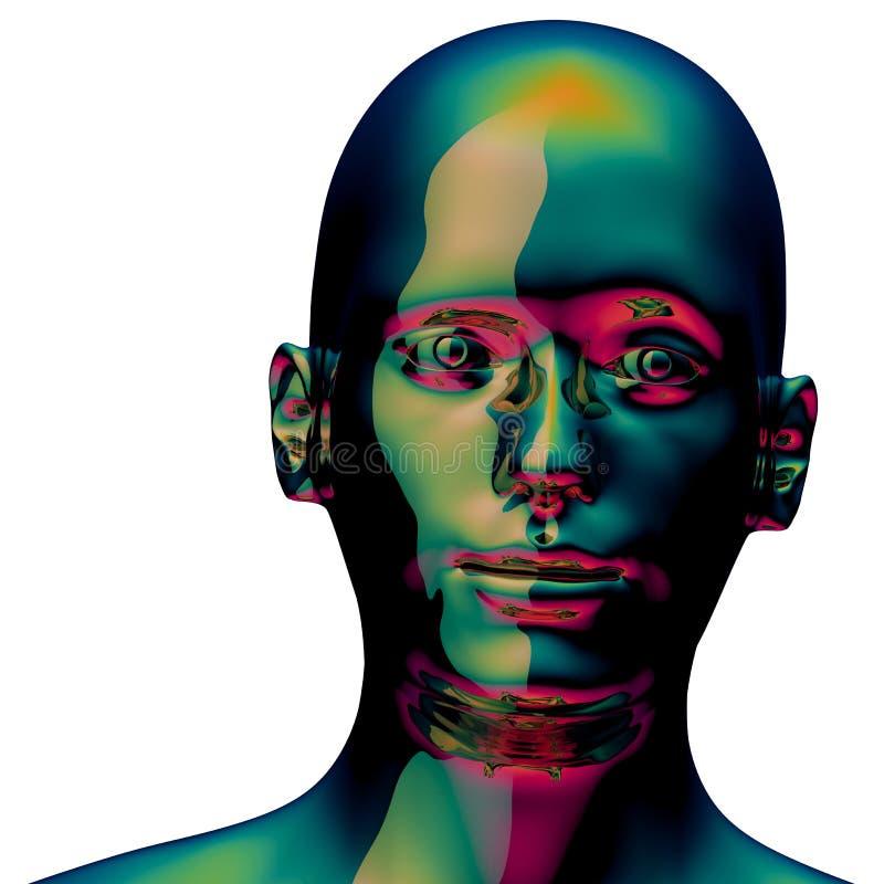 Avatar metallico lucido dorato di verde della testa dell'uomo del ferro del robot illustrazione di stock