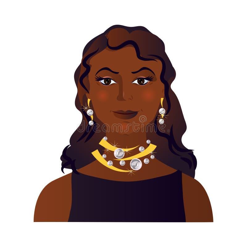 Avatar mignon des cheveux afro-américains de brune de femme illustration libre de droits
