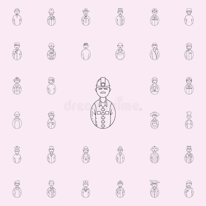 avatar mijnwerkerspictogram Avatars voor Web wordt geplaatst dat en mobiel pictogrammenalgemeen begrip royalty-vrije illustratie