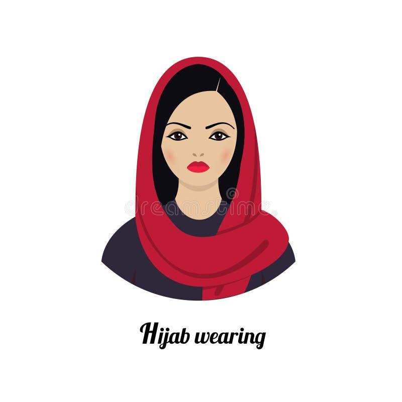Avatar musulmán de la muchacha El llevar tradicional musulmán asiático del hijab ilustración del vector