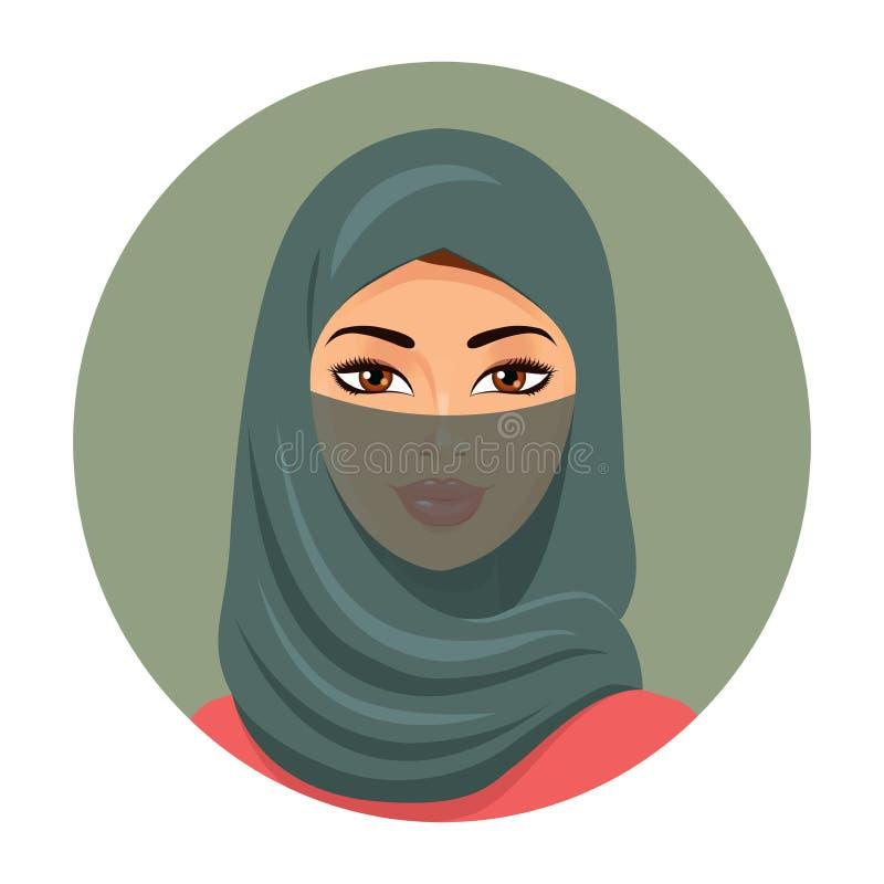 Avatar musulmán de la muchacha Mujer hermosa árabe en hijab verde Vector ilustración del vector