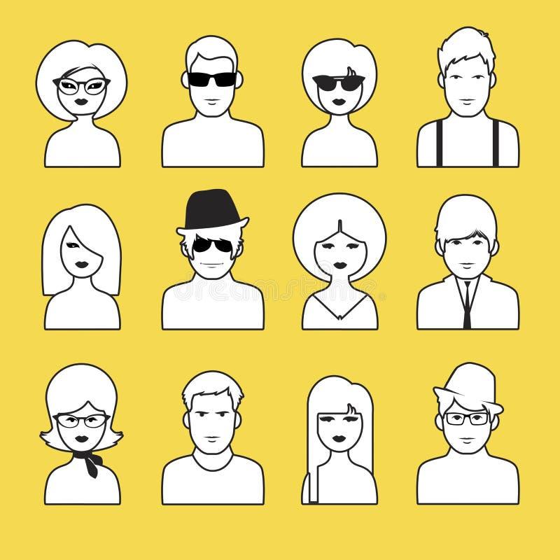 Avatar o icone dei profili delle ragazze e dei ragazzi Stile di schiocco illustrazione vettoriale