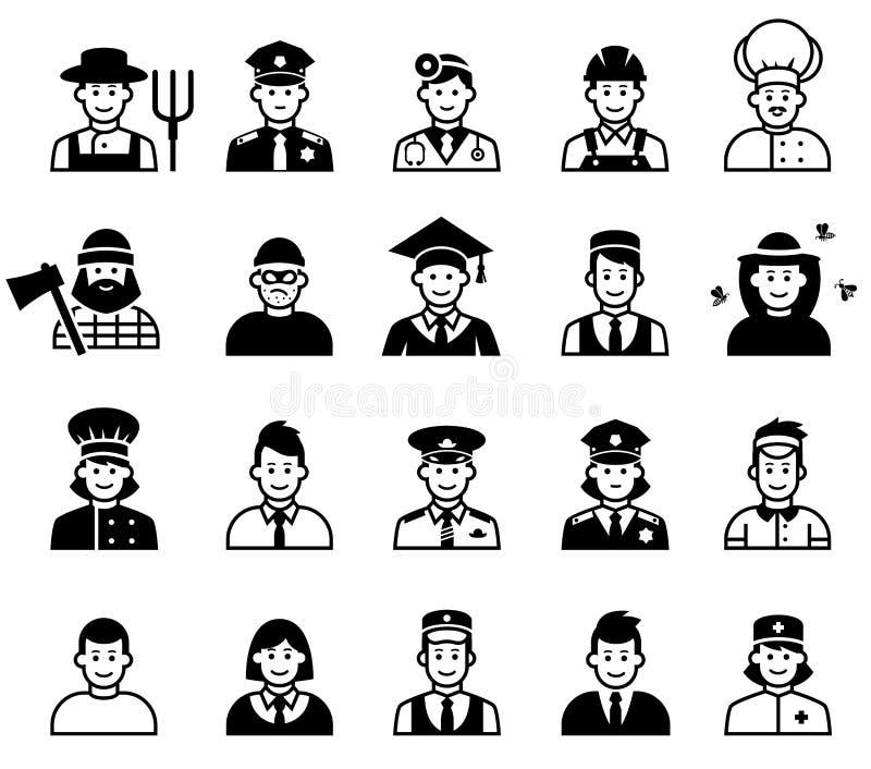 Avatar- och folkockupationsymboler resurser för folk för affärsaffärskvinnagrupp mänskliga stora vektor illustrationer